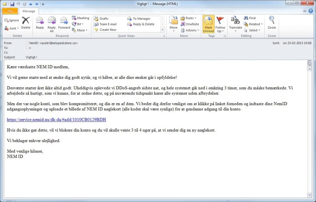 Email categorized phishing Nemid_phishing